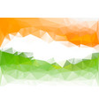 indian flag low poly background orange green vector image vector image