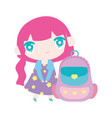 kids cute little girl anime cartoon with school vector image
