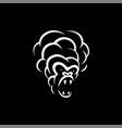 linear white smoke monkey face icon on black vector image