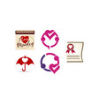 love heart template set vector image vector image
