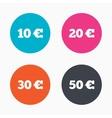 Money in Euro icons Ten twenty fifty EUR vector image vector image