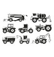 monochrome pictures of agricultural machinery vector image vector image