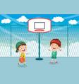 of kid playing basketball vector image vector image