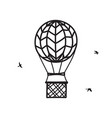 outline hot air balloon with birds vector image