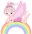 Pixie fairy on rainbow vector image vector image
