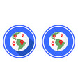 planet and locations mark earth round flat icon vector image vector image