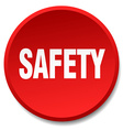 safety red round flat isolated push button vector image vector image