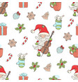 santa cello christmas seamless pattern illu vector image vector image