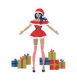santa claus woman with gift boxes vector image vector image
