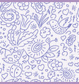 seamless pattern sketch floral bird vector image vector image