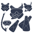 Set of with flippers mask snorkel vector image vector image