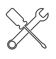 spanner and a screwdrive vector image