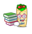 student with book burrito mascot cartoon style vector image vector image