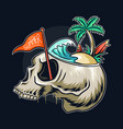 summer theme skull head with concept on its vector image