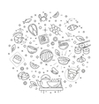 Sushi seafood outline symbols vector image