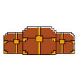 three wooden pixelated chest treasure game vector image