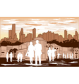 white people silhouette on red city background vector image vector image