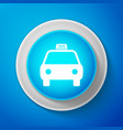 White taxi car icon isolated on blue background