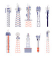 wireless towers satellite communication isolated vector image