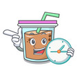 with clock bubble tea character cartoon vector image vector image