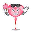 with ice cream ballon heart character cartoon vector image