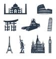 World famous landmarks black vector image