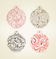 set of christmas balls floral for design vector image