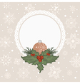 christmas card with branch and ball - vector image