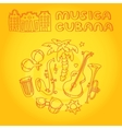 Cuban music with musical instruments vector image