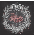 Christmas wreath with chalk vector image