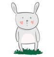 a big eared grey cartoon hare standing on lush vector image vector image