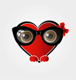 A red heart with black spectacles vector image vector image