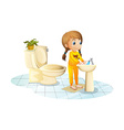 A young lady washing her hands vector image vector image