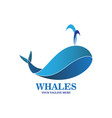abstract blue whales logo vector image vector image