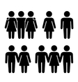 Alone Couple and Threesome Human Icons Set vector image vector image