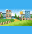 an outdoor scene with shop building vector image vector image