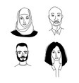 arabian womens mens head portraits mono-ethnic vector image