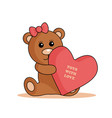bear logo with bow and heart vector image
