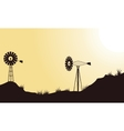 Beauty landscape windmill of silhouettes vector image vector image