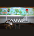 car interior with empty road driver point view vector image