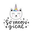 caticorn cute cat unicorn cartoon character vector image
