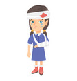 caucasian girl with broken arm and bandaged head vector image vector image