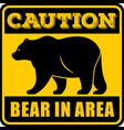 caution bear in area sign vector image