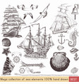 collection nautical elements on theme sea vector image