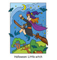 colorful halloween cute little witch flying on vector image