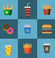 concept fast food flat set vector image