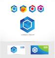 Cube rhombus logo icon vector image