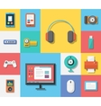 Electronics flat icons vector image
