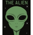 Face of green alien isolated on black background vector image