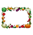 farm vegetables isolated frame raw veggies vector image vector image